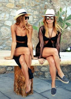 Image via We Heart It #black #fashion #girls #hair #hat #outfit #summer #swimwear