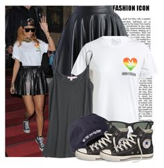"""""""Celebrity Style: Rihanna"""" by prettyorchid22 ❤ liked on Polyvore featuring Chicwish, Silver Spoon Attire, Calypso St. Barth, Ray-Ban and Converse"""