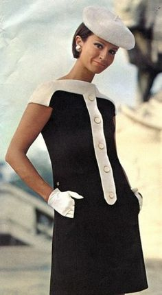 Black/white sweater dress with white hat & gloves 1960's