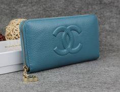 Chanel Zip Wallet in grained calfskin gold metal Blue - $160.00