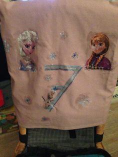 Verjaardags stoelhoes voor onze dochter. Gemaakt met servetten en textiellijm van de action.