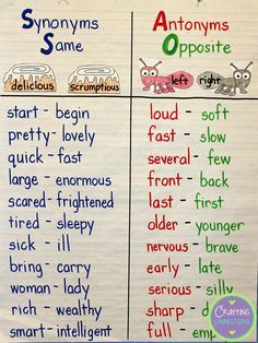 Synonyms/antonyms anchor chart