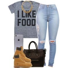 A fashion look from January 2015 featuring Timberland ankle booties, CÉLINE tote bags and Kate Spade necklaces. Browse and shop related looks.