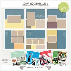 Create a photobook with a clean, bold look with these templates featuring large blocks of colors and lots of photo spaces.   They are provided in both psd and TIFF formats. (Also provided as separate png elements for those whose scrapping program requires them - I recommend you don't ...