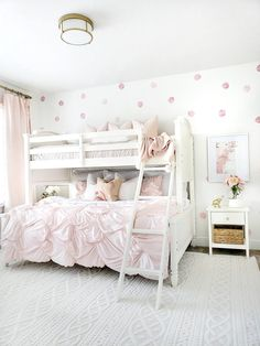 Dorel Living Charlie Twin over Full Bunk Bed available on Twin Girl Bedrooms, Bunk Beds For Girls Room, Bunk Bed Rooms, Kids Room For Girls, Girls Bedroom Pink, Wallpaper For Girls Bedroom, Simple Girls Bedroom, Preteen Girls Rooms, Modern Girls Rooms
