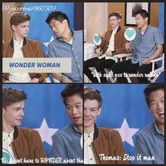 Thomas and Ki Hong playing Tumblr yes or no>>> OH MY GOD THEY LIKE WONDER WOMAN!!!!!!!!!!!!!!!!!!!!!!!!!!!!!!