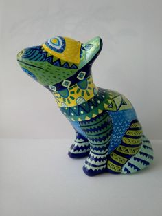 Perro colimote de papel mache