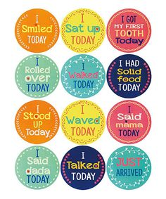 Blossoms and Buds My First Moments Baby Belly Stickers, Set of 12 Baby Stickers, Bottle Cap Images, First Tooth, Baby Belly, One Moment, Baby Milestones, Stand By Me, Baby Photos, Bud