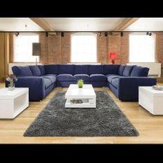 Extra Large Cinema Sofa Set Settee Corner Group U Shape Blue 4 0x2 6m