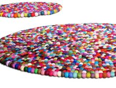 Gumball rug - made of wool. Cute rug for a playroom.