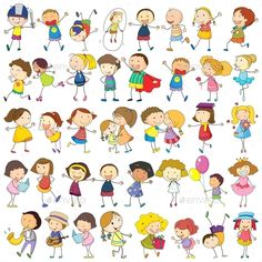Buy Children by interactimages on GraphicRiver. Illustration of children Clipart, Stick Figure Drawing, Cartoon People, Children Cartoon, Stick Figures, Rock Crafts, Friend Pictures, Drawing For Kids, Doodle Art