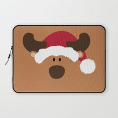 Christmas Reindeer with Santa Claus' hat -Protect your laptop with a unique Society6 Laptop Sleeve. Our form fitting, lightweight sleeves are created with high quality polyester - optimal for vibrant color absorption. The design is printed on both sides to fully showcase the artwork while keeping your gear protected. Pulling back the YKK zipper, you'll find the interior is fully lined with super soft, scratch resistant micro-fiber.