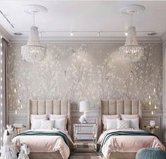 Inspirational ideas about Interior Interior Design and Home Decorating Style for Living Room Bedroom Kitchen and the entire home. Curated selection of home decor products. Twin Girl Bedrooms, Twin Bedroom Ideas, Girls Bedroom, Decor Interior Design, Interior Decorating, Decorating Tips, Apartments Decorating, Decorating Bedrooms, Luxury Interior