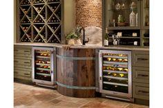 True built-in wine & beverage fridge. - via Interior Canvas; check out the wine barrel sink! Above Kitchen Cabinets, Wine Cabinets, Kitchen Appliances, Upper Cabinets, Barrel Sink, Beverage Refrigerator, Wine Fridge, Home Bar Designs, In Vino Veritas