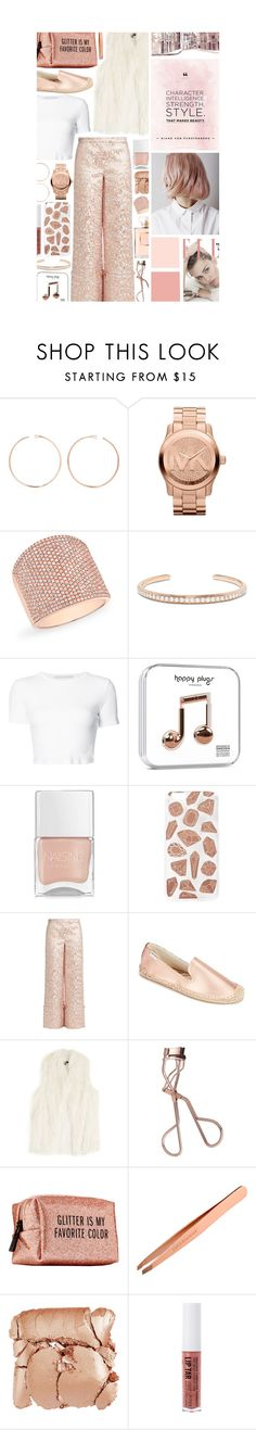 """""""Rose Gold Jewelry: Contest Entry"""" by isquaglia ❤ liked on Polyvore featuring Anita Ko, Michael Kors, Anne Sisteron, Rosetta Getty, Nails Inc., Skinnydip, Osman, Soludos, DKNY and Charlotte Tilbury"""