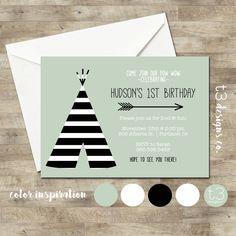 TEEPEE Birthday Invitation, Striped teepee birthday invite, boy or girl birthday invitation, pow wow party, aztec birthday invite, modern