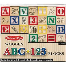 "Melissa & Doug Deluxe 50-piece Wooden ABC/123 Blocks Set - Melissa & Doug - Toys ""R"" Us"