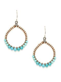 Turquoise Silver Open Circle Drop Earrings By Chan Luu At Gilt
