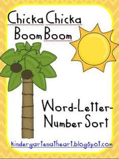 Kindergarten At Heart: Chicka Chicka Boom Boom Word-Letter-Number sort FREEBIE!