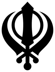 The symbol on this bumper sticker is commonly found on Sikh banners, and is one of the most important symbols of Sikhism. The sword on the left represen. Spiritual Symbols, Religious Symbols, Ancient Symbols, Religious Education, Religious Art, Guru Nanak Ji, Sikh Quotes, Punjabi Quotes, Guru Gobind Singh