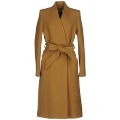 Iro Coat (2.685 RON) ❤ liked on Polyvore featuring outerwear, coats, camel, long sleeve coat, collar coat, woolen trench coat, woolen coat and double breasted coat
