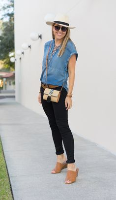 Cute relaxed denim shirt, plus I have the other items in this outfit to match.