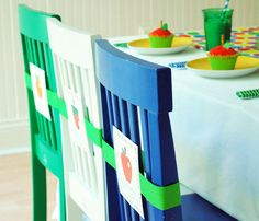 name plates for kids on chairs  very hungry caterpillar party