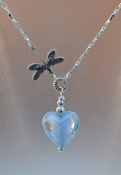 Beautiful Blue Heart Pendant Necklace by JewelryArtByGail on Etsy SOLD