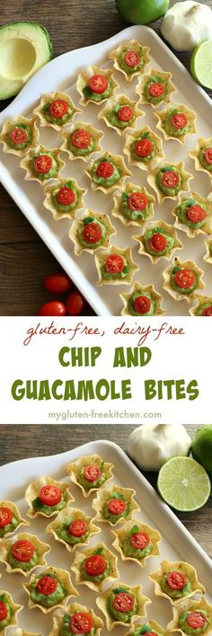 "Chip and Guacamole Bites gluten-free appetizer recipe. Dairy-free too! ""Gluten free recipe - Dairy free - Chip and Guacamole Bites gluten-free appetizer re No Cook Appetizers, Finger Food Appetizers, Appetizers For Party, Delicious Appetizers, Halloween Appetizers, Appetizer Ideas, Avacado Appetizers, Prociutto Appetizers, Asian Appetizers"
