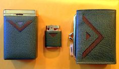 SALE Working Lady Buxton Brass and Green Leather Cigarette Lighter, Wallet, and Matching Case by TheLeafery, $90.00