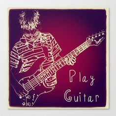 Play Guitar Stretched Canvas by ADH Graphic Design - $85.00