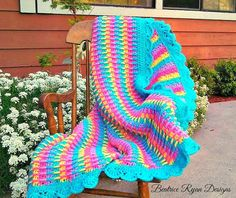 Rainbow Dash Baby Blanket This Free Crochet Pattern is an adorable baby blanket that is bright and cheery… It can be made using one or more colors to get the effect you desire.  Great texture…