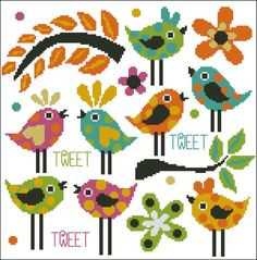 Mini Cross Stitch Pattern:				Vibrant Afternoon Tweet						  Design Source:		ReviDevi								  DMC Floss Colors:		8								  Stitch Count:	148	x	146