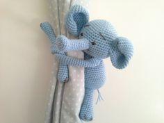 Elephant Curtain Tie Back, Crochet Elephant, Amigurumi, Tie-Back Custom Order