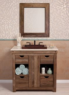 Reclaimed Wood Bath Vanities - Native Trails - Chardonnay Vanity - Made from wine-stained oaking staves - Vintner's Collection
