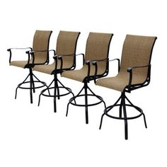 Allen + Roth Set Of 4 Safford Swivel Sling Cast Aluminum Patio Bar-height Chair…