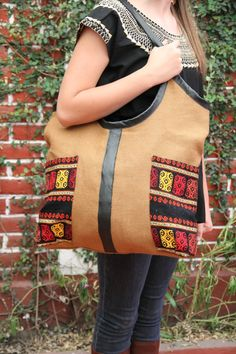 Jute and leather tote with handwoven details