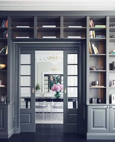 Store your treasured objects books, and beyond with the top 60 best built in bookcase ideas. Explore bookshelf designs featuring living rooms to offices.Grey Doorway Exceptional Built In Bookcase Ideas Home Library Rooms, Home Library Design, Home Libraries, Home Office Design, Home Interior Design, House Design, Interior Office, Bibliotheque Design, Bookshelf Design