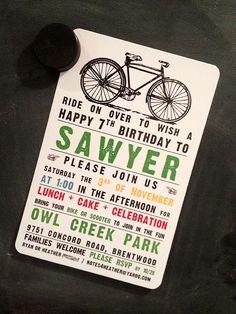 Bike party invitation