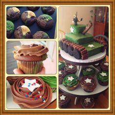 Camo cupcakes and military tank cake.