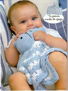 "Photo from album ""Crochet mantas de apego on Yandex. Crochet Lovey, Crochet Baby Toys, Crochet Bebe, Baby Blanket Crochet, Crochet For Kids, Diy Crochet, Baby Knitting, Snuggle Blanket, Lovey Blanket"