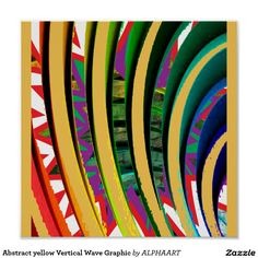 Abstract yellow Vertical Wave Graphic Poster