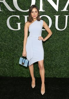Olivia Culpo One Shoulder Dress - Olivia Culpo chose a pale-blue one-shoulder dress by Bec & Bridge for the Preakness event.