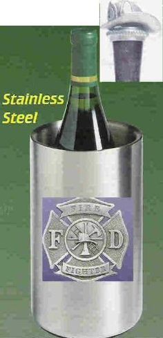 Firefighter Wine Chiller with Firefighter Helmet Pewter Bottle Stopper . $62.95. Firefighter Emblem Single Bottle Iceless Stainless Steel Wine Chiller with detailed pewter emblem. Double walled and thermal insulated. Will keep a prechilled bottle of wine cool up to three hours. Firefighter Helmet Pewter Bottle Stopper with choice of either non-staining, dark synthetic cork with attached chain and pewter ring which slips over a bottle's neck or Metal Cone Stopper with ...