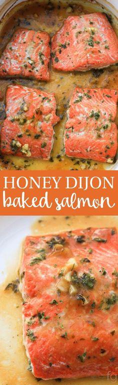 Honey Dijon Baked Salmon Recipe | Salmon Recipes Baked | Healthy Dinner Recipes | 30 Minute Meals | Quick Healthy Dinner