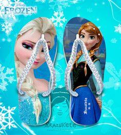 Frozen Anna and Elsa Flip Flops Sandals with free shipping. Chinelos Frozen https://www.etsy.com/listing/205727253/frozen-elsa-and-anna-disney-print-flip