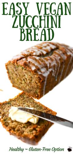 An easy classic moist and delicious vegan zucchini bread recipe that you can make with your choice of wheat whole wheat spelt or gluten-free flours This may be the best way to eat zucchini Vegan Zucchini Recipes, Gluten Free Zucchini Bread, Healthy Bread Recipes, Vegan Dessert Recipes, Vegan Sweets, Vegan Snacks, Vegan Foods, Whole Food Recipes, Vegan Sweet Bread Recipe