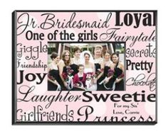 Personalized Junior Bridesmaid Picture Frames are available in seven different styles and designed especially with the younger bridesmaid in mind, she will love this grown-up frame, which proclaims her to be one of the girls, a loyal friend, and special sweetie.  Let her know what a special part she played in your wedding day with one of these lovely and colorful personalized junior bridesmaid photo frames. Perfect after-wedding present or pre-wedding bridesmaid gift.