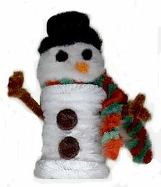 Snowman Craft    Here's another fun craft for kids using pipe cleaners. You could also use cotton balls to turn your prescription bottles into a snowman for the long, flu-filled winter.  Read more at All Free Crafts