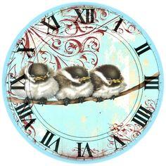 Face clock - darling chickadees                                                                                                                                                      More